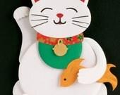Maneki Neko / Lucky Cat / Beckoning Cat - 8 x 10 art print of an original paper sculpture by Tiffany Budzisz