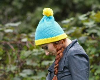Cartman Hat Teal and Yellow Pom Pom ready to ship Cartoon