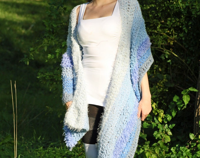Blue One Sleeved Shawl Unique Asymmetrical Top Sweater Women chic jacket
