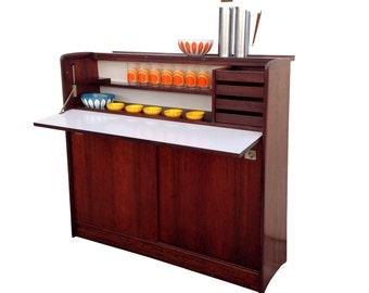 Summer Sale Rare Rosewood Fold-up Bar Cabinet Mid Century Danish Modern