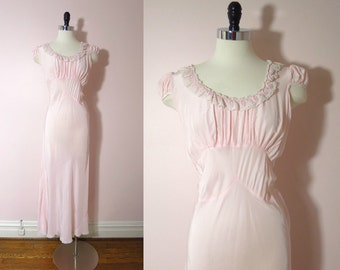 Vintage Pink Nightgown -1930s Palest Pink Gown Nightgown L - Silk Satin Bias Cut Old Hollywood - 20s 30s Lingerie
