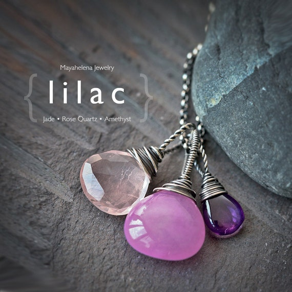 Lilac - Gemstone Trio - Pink Jade, Rose Quartz and Amethyst Sterling Silver Wire Wrapped Necklace