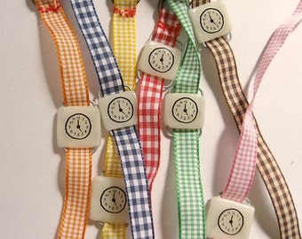 Toy Watch bracelet. 1 fake watch & 2 watchbands. One-of-a-kind handmade toy bracelet with Gingham band. Tea time. Happy Hour clock gift