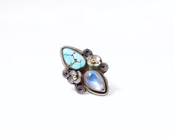 RESERVED SAMMI Moonstone Lone Mountain Turquoise Sterling Silver 18k gold handmade metalsmith statement ring size 8.5/9 Ready to Ship