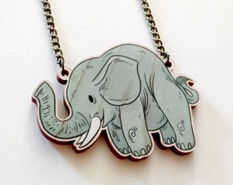 Cute Elephant wood charm necklace