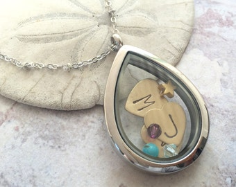 personalized locket necklace, heart jewelry, child initials necklace, new mom gift, personalized necklace, memory locket, floating locket