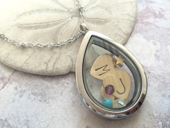 personalized locket necklace, heart jewelry, child initials necklace, new mom gift, personalized necklace, memory locket, floating locket
