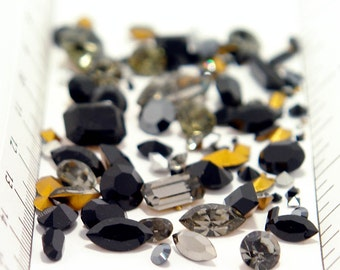100 ALL Swarovski jet black Rhinestone Lot - 1st quality - vintage and new - fancy & round - tiny to large - black diamond crystal clay