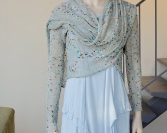 Long sleeves rayon cardiwrap gray with multicolor speckles wrap cardigan stole shawl spring