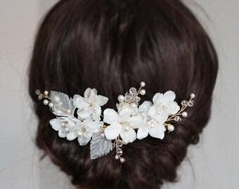 Gold Silk Flower Hair Comb, Crystals Pearls Hair Flowers Bridal Headpiece, white Ivory Hair vines Headband Clip Side Tiara Hair Accessory