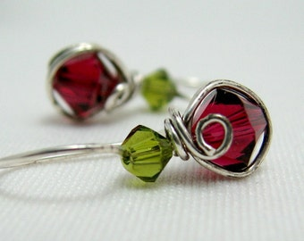 Fuchsia Olive Swarovski Crystal Wire Wrapped Dangle Earrings Sterling Silver by Pixes Treasure Chest