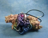 Cosmic Octopus Necklace - Handmade Polymer Clay Space Jewelry