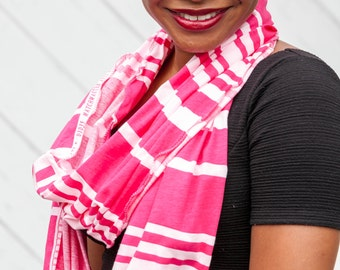 Printed Edge Candy Stripe Infinity Scarf Pink and White Ruffled Cowl