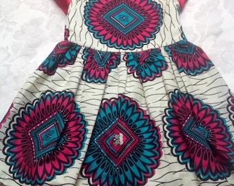 Shocking pink and blue African Ankara print dress 1-4 years