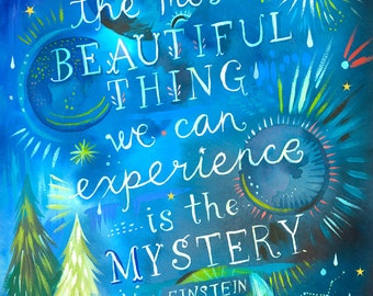 Mystery | Watercolor Quote | Celestial Wall Art | Einstein Print | Lettering | 8x10 | 11x14