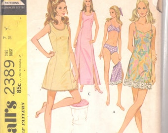 McCalls 2389 1970s Misses Lingerie Pattern Panties Slip Bra Pattern Womens Vintage Sewing Pattern Size 7 Bust 31, Size 12 OR Size 10