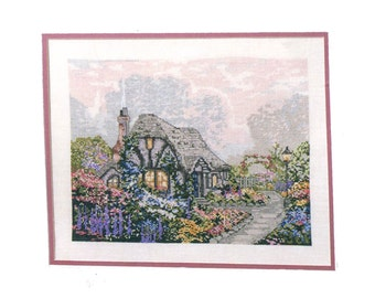 Thomas Kinkade Chandler's Cottage Cross Stitch Pattern Garden Path Landscape Picture to Embroider or Needlepoint Charted Design Summer