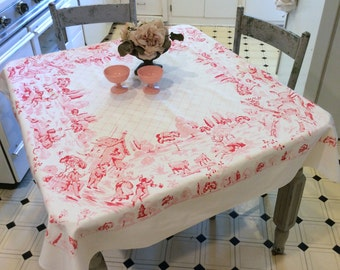 Vintage Tablecloth Victorian Pink Picnic in the Park