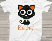 Glitter Halloween shirt Black cat black glitter Tshirt - funny custom shirt perfect for Halloween  BCGT