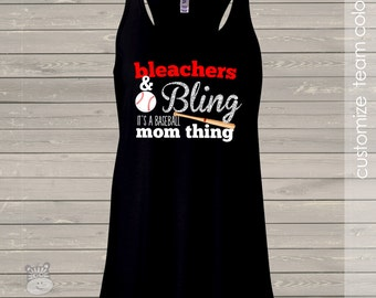 Baseball mom bling sparkly DARK flowy tank top - great gift for birthday or Mother's Day