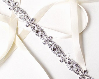 Headband - Ornate Silver Rhinestone Bridal Headband - White or Ivory Satin Ribbon - Silver and Crystal Wedding Dress Belt - Standard Length