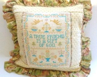 Sampler Pillow Cover, Vintage Cross Stitch Sampler Cushion Cover, Handmade Pillow Sham