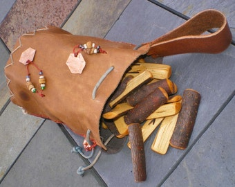 Choke Cherry Wood Rune Set and Leather Casting Cup Pouch