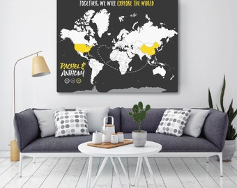 Wedding Gift Map, World Map Wall Art, Gift for Newlyweds, Modern Travel Map, Map Print, World Map Canvas, Poster // H-I17-1PS HH8 06P