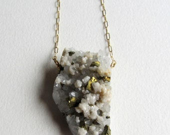 Huge Pyrite and White Quartz Necklace with Gold Fill - Handmade in Seattle