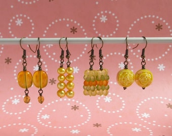 Clearance Sale Earrings - Yellow & Green, Freshwater Pearl, Rose, Flowers, Candy Beads