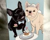 Wedding French Bulldogs - Greeting Card