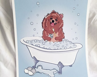Bathtime Pomeranian - Eco-Friendly 8x10 Print