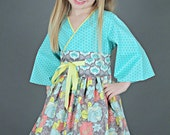 Little Girls Dress - Toddler Birthday Clothes - Tiffany Blue - Kimono Dress - short sleeves - long sleeves - sizes 2T to 7 years