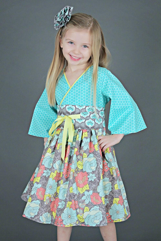 Pretty Blue Kimono Dress Toddlers Teens Baby Girls