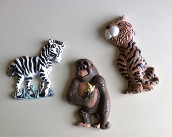 Safari Animals By Burwood Wall Decor , Vintage Nursery Wall Decor , Retro Jungle Animals , Vintage Playroom Animals Wall Decor