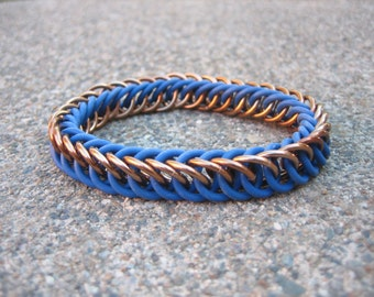 Ravenclaw Bronze & Blue Harry Potter Themed Stretchy Chainmaille Bracelet - Half-Persian 4-in-1 Weave