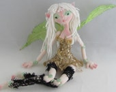 BUTTON FAIRY, soft sculpture fairy doll, handmade in the USA