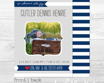 Stripes and Banners - Custom Birth Announcement