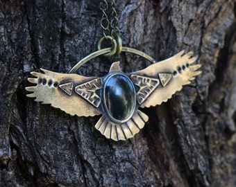 Bird Necklace Eagle Necklace Thunderbird Necklace Hematite Necklace Brass Necklace Southwestern Jewelry Black Stone Necklace Hand Stamped