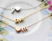 Cursive Initial Bracelet - Gold Silver or Rose Gold Double Charm Initial Personalized Bridesmaid Gift Wedding Mini Dainty Bracelet