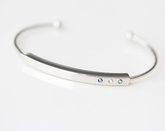 Birthstone Bracelet - Personalized Tiny Birthstone Bangle Bracelet / THIN SILVER Bar Bracelet / Perfect Christmas Gift for Mom, Friend