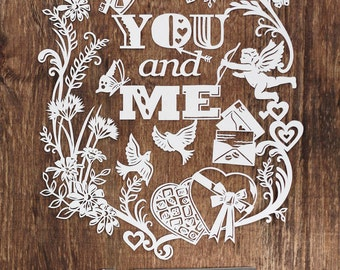 Template! You and Me Papercut