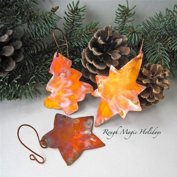 Primitive Copper Christmas Ornaments. Tree and Stars. Rustic Metal Decorations Holiday Decor. Xmas Tree Advent Ornaments 3 Piece Sampler Set