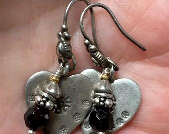 Silver Heart Garnet Valentine Love Charm Earrings