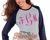 Glitter Monogram Baseball Tee - Vintage Style 3/4 Length Long Sleeve Round Neck Custom Red Pink Navy Black Aqua Gift