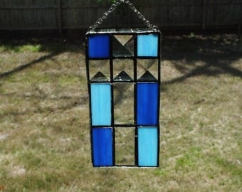 Lead-Free Stained Glass Cross - Blue/Lt Blue with Bevels
