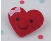 Felt Hair Clip Sweetheart, Red Hair Clip, Valentine Hair Clip, Heart Hair Clip, Girls Hair Clip, Hair Bow