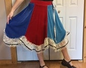 RESERVED Plus Size Velvet Midi Swing Skirt with Lace/Panel Skirt/Stretch/Red and Blue/Hippie/Folk/Boho/Upcycled Recycled Repurposed/Size 2X