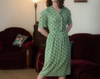 RESERVED Vintage 1940s Dress - Cute Sage Green with Off White Polka Dots Shirtwaist 40s Day Dress in Breathable Cotton Rayon Blend