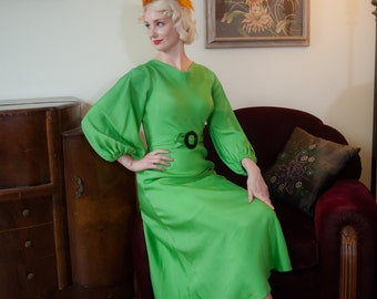 Vintage 1930s Dress - Sensational Neon Green Silk Crepe Deco 30s Gown with Billowing Sleeves and Contrasting Velvet Accents